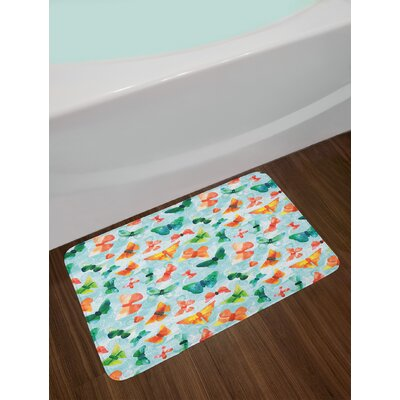 Ambesonne Seafoam Bath Mat by, Watercolor Butterflies of Many Colors Brush Stroke Effect Spring Fauna Pattern, Plush Bathroom Decor Mat with Non Slip Backing, 29.5 W X 17.5 W Inches, Multicolor