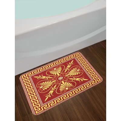 Ambesonne Greek Key Bath Mat by, Old Fashioned Frame Design with the Greek Labyrinth and Curly Leaves Flowers, Plush Bathroom Decor Mat with Non Slip Backing, 29.5 W X 17.5 W Inches, Ruby Yellow
