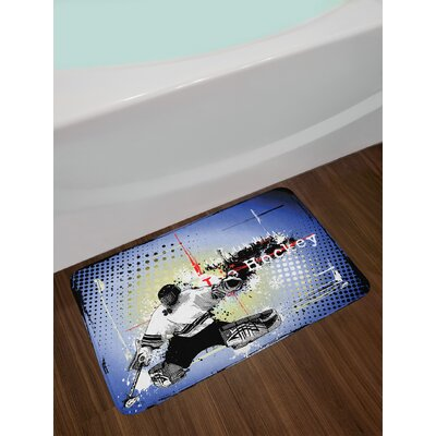 Ambesonne Hockey Bath Mat by, Retro Halftone Style Backdrop with Player Figure Snowflakes and Cityscape Silhouette, Plush Bathroom Decor Mat with Non Slip Backing, 29.5 W X 17.5 W Inches, Multicolor