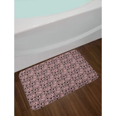 Ambesonne Abstract Bath Mat by, Blooming Flowers and Ballerina Silhouettes Dance Figures with Petals, Plush Bathroom Decor Mat with Non Slip Backing, 29.5 W X 17.5 W Inches, Rose Black Dried Rose