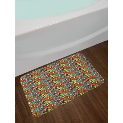 Ambesonne Butterfly Bath Mat by, Colorful Butterflies with Artistic Wings Exotic Nature Inspired Summer Pattern, Plush Bathroom Decor Mat with Non Slip Backing, 29.5 W X 17.5 W Inches, Multicolor