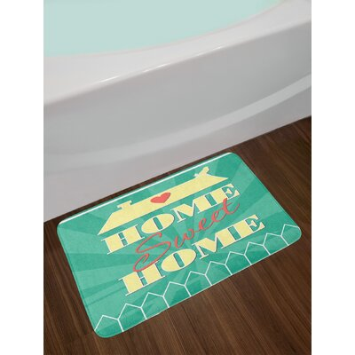 Ambesonne Home Sweet Home Bath Mat by, Abstract Yellow Roof with a Heart and Bird Background, Plush Bathroom Decor Mat with Non Slip Backing, 29.5 W X 17.5 W Inches, Sea Green Pale Yellow Dark Coral