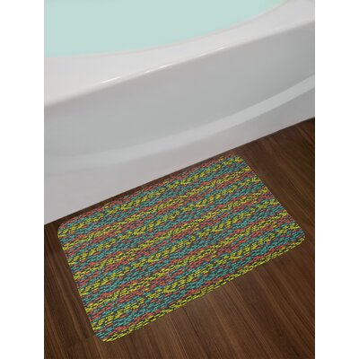 Ambesonne Fish Bath Mat by, Doodle Style Retro Underwater Life Sea Animals Simple Silhouettes in Different Colors, Plush Bathroom Decor Mat with Non Slip Backing, 29.5 W X 17.5 W Inches, Multicolor