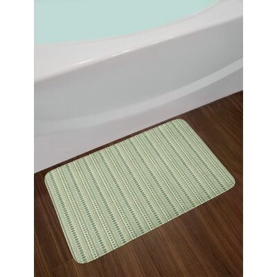 Ambesonne Aztec Bath Mat by, Vertical Native American Borders with National Motifs Tribal Culture, Plush Bathroom Decor Mat with Non Slip Backing, 29.5 W X 17.5 W Inches, Reseda Green and Beige