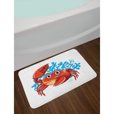 Ambesonne Crabs Bath Mat by, Cartoon Style Aquatic Animal with Blue Coral Reef in the Back Marine Mascot, Plush Bathroom Decor Mat with Non Slip Backing, 29.5 W X 17.5 W Inches, Red Blue Pale Orange