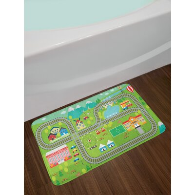 Ambesonne Kid's Activity Bath Mat by, Train Tracks with Colorful Town School City Mall and Amusement Park Fair, Plush Bathroom Decor Mat with Non Slip Backing, 29.5 W X 17.5 W Inches, Multicolor