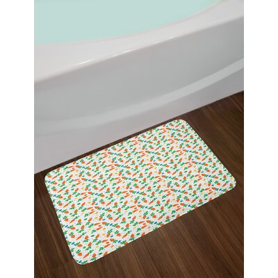 Ambesonne Easter Bath Mat by, Orange Carrots Colorful Eggs and Dots in Cartoon Style Fresh and Healthy Bunny Food, Plush Bathroom Decor Mat with Non Slip Backing, 29.5 W X 17.5 W Inches, Multicolor