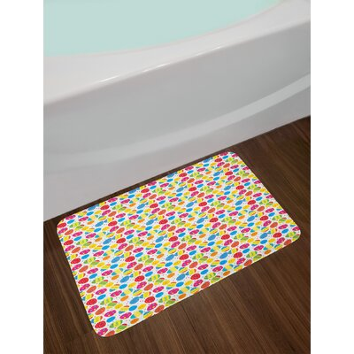 Ambesonne Easter Bath Mat by, Cartoon Style Baby Chicken and Colorful Eggs with Little Daisy Blossoms and Zigzag, Plush Bathroom Decor Mat with Non Slip Backing, 29.5 W X 17.5 W Inches, Multicolor