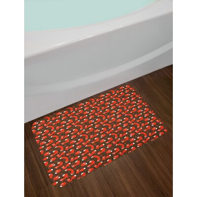 Ambesonne Fox Bath Mat by, Paw Print Pattern Background with Childrens Cartoon Cunning Forest Animals, Plush Bathroom Decor Mat with Non Slip Backing, 29.5 W X 17.5 W Inches, Orange Army Green White