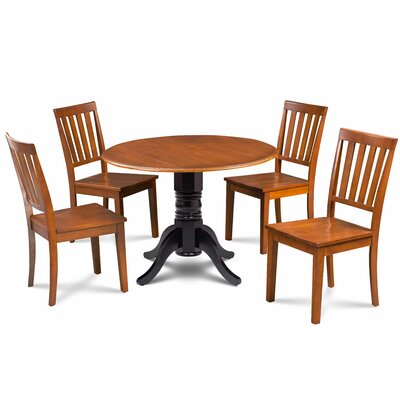 Abner 5 Piece Drop Leaf Dining Set Table Base Color: Black, Chair Color: Cherry, Table Top Color: Cherry