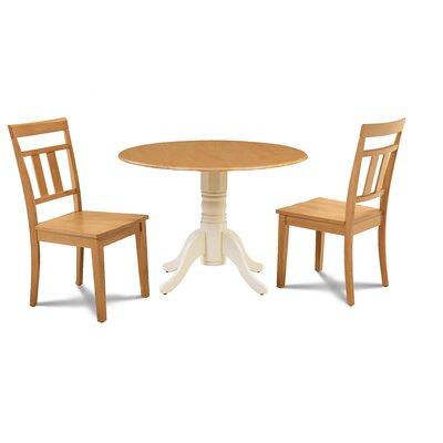 Sirius 3 Piece Drop Leaf Dining Set Table Base Color: Buttermilk, Chair Color: Oak, Table Top Color: Oak