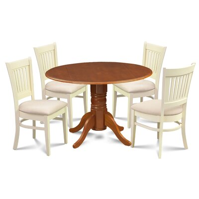 Zebulon 5 Piece Drop Leaf Dining Set Chair Color: Cream/Buttermilk, Table Base Color: Saddle Brown, Table Top Color: Saddle Brown