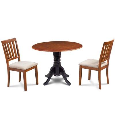 Edgar 3 Piece Drop Leaf Dining Set Table Base Color: Black, Table Top Color: Cherry, Chair Color: Cream/Cherry