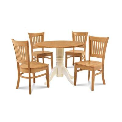 Humphrey 5 Piece Drop Leaf Dining Set Table Base Color: Buttermilk, Chair Color: Oak, Table Top Color: Oak