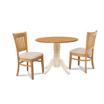 Viggo 3 Piece Drop Leaf Dining Set Table Base Color: Buttermilk, Chair Color: Cream/Oak, Table Top Color: Oak