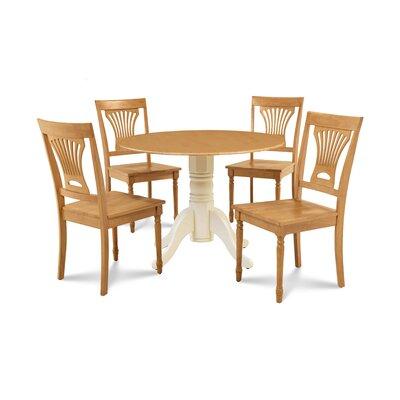 Derek 5 Piece Drop Leaf Dining Set Table Base Color: Buttermilk, Chair Color: Oak, Table Top Color: Oak