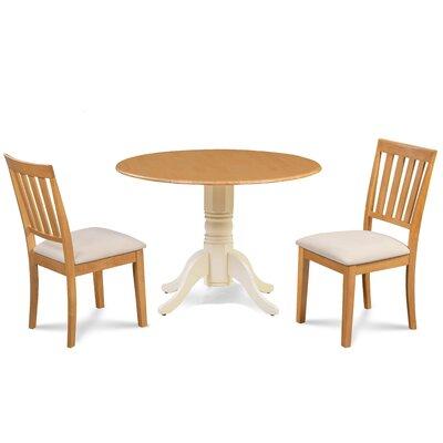 Edgar 3 Piece Drop Leaf Dining Set Table Base Color: Buttermilk, Chair Color: Cream/Oak, Table Top Color: Oak