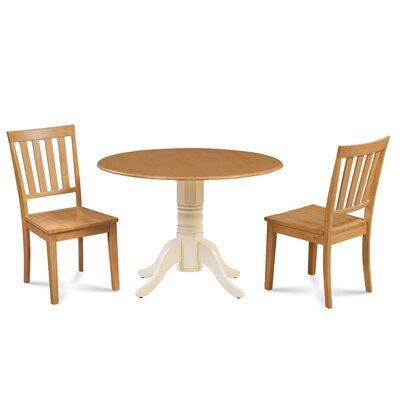 Kaiser 3 Piece Drop Leaf Dining Set Table Base Color: Buttermilk, Chair Color: Oak, Table Top Color: Oak