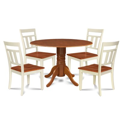 Breccan 5 Piece Drop Leaf Dining Set Table Base Color: Cherry, Table Top Color: Cherry, Chair Color: Cherry/Buttermilk