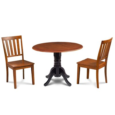 Kaiser 3 Piece Drop Leaf Dining Set Table Base Color: Black, Chair Color: Saddle Brown, Table Top Color: Saddle Brown