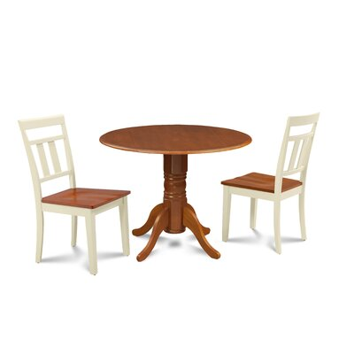 Sirius 3 Piece Drop Leaf Dining Set Table Base Color: Cherry, Table Top Color: Cherry, Chair Color: Cherry/Buttermilk