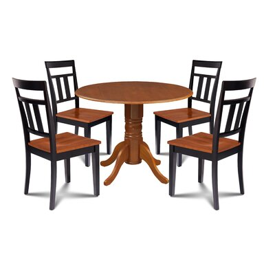 Breccan 5 Piece Drop Leaf Dining Set Table Base Color: Cherry, Table Top Color: Cherry, Chair Color: Cherry/Black