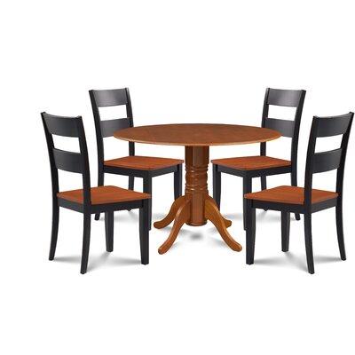 Kieran 5 Piece Drop Leaf Dining Set Chair Color: Black/Cherry