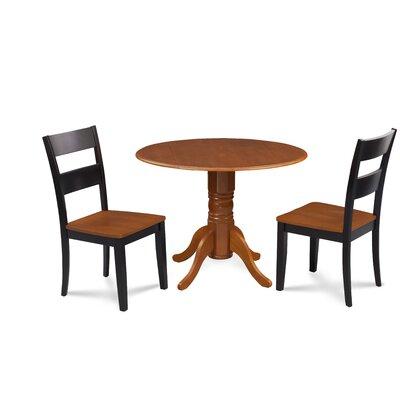 Severus 3 Piece Drop Leaf Dining Set Chair Color: Black/Cherry