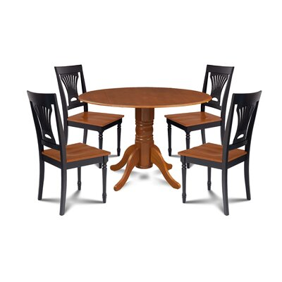 Derek 5 Piece Drop Leaf Dining Set Table Base Color: Saddle Brown, Table Top Color: Saddle Brown, Chair Color: Saddle Brown/Black