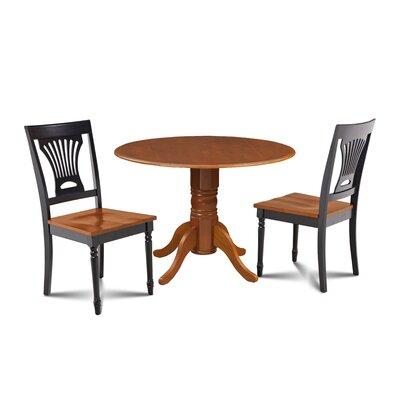 Mac 3 Piece Drop Leaf Dining Set Chair Color: Black/Cherry