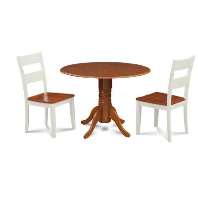 Severus 3 Piece Drop Leaf Dining Set Chair Color: White/Cherry