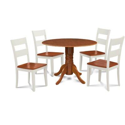 Kieran 5 Piece Drop Leaf Dining Set Chair Color: White/Cherry