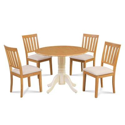 Casimir 5 Piece Drop Leaf Dining Set Table Base Color: Buttermilk, Chair Color: Cream/Oak, Table Top Color: Oak