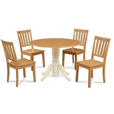 Abner 5 Piece Drop Leaf Dining Set Table Base Color: Buttermilk, Chair Color: Oak, Table Top Color: Oak