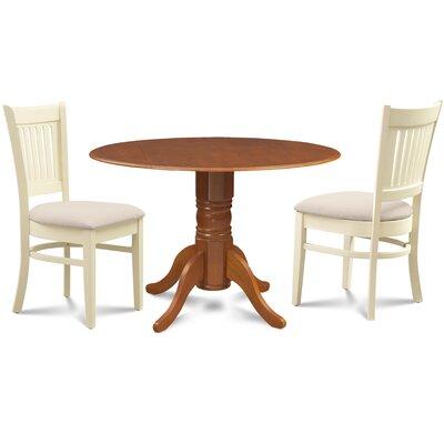 Viggo 3 Piece Drop Leaf Dining Set Chair Color: Cream/Buttermilk, Table Base Color: Saddle Brown, Table Top Color: Saddle Brown