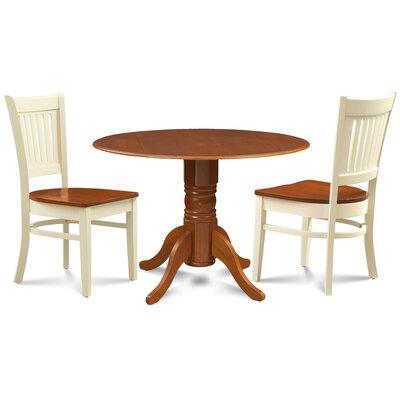 Thor 3 Piece Drop Leaf Dining Set Table Base Color: Saddle Brown, Table Top Color: Saddle Brown, Chair Color: Saddle Brown/Oak