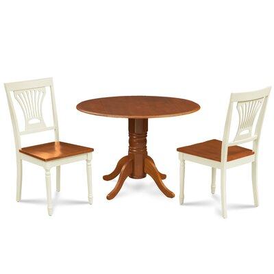 Mac 3 Piece Drop Leaf Dining Set Chair Color: Buttermilk/Cherry