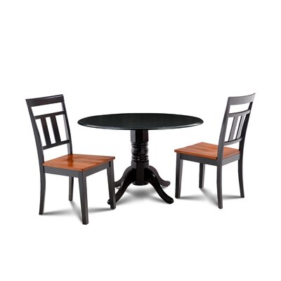 Percival 3 Piece Drop Leaf Dining Set Table Color: Black