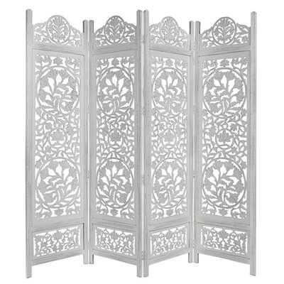 Renteria Handcrafted Wooden 4 Panel Room Divider Color: White