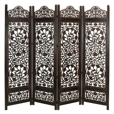 Renteria Handcrafted Wooden 4 Panel Room Divider Color: Dark Brown
