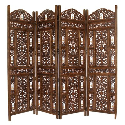 Renteria Handcrafted Wooden 4 Panel Room Divider Color: Brown