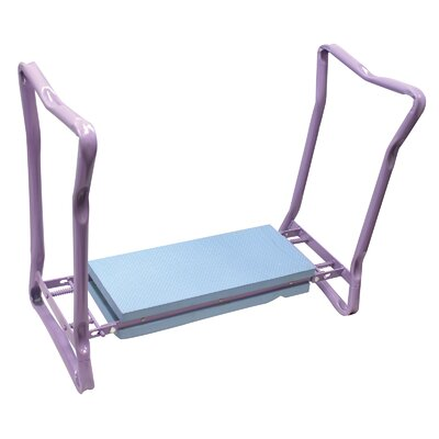 Souza Foldaway Garden Kneeler and Seat Accent Stool Frame Color/ Top Color: Lavender/Blue