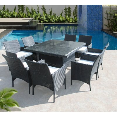 Hendrix 9 Piece Dining Set with Cushions Color: Black