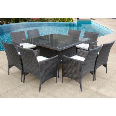 Hendrix 9 Piece Dining Set with Cushions Color: Brown