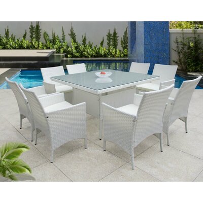 Hendrix 9 Piece Dining Set with Cushions Color: White
