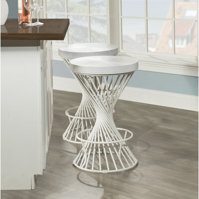 "Latham Bar Stool Size: 26"" H x 17"" W x 17"" D, Color: White"