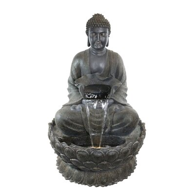 Natural Stone Buddha Zen Fountain with LED Light