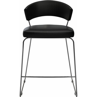 "Delancey 25.5"" Bar Stool Upholstery: Black"