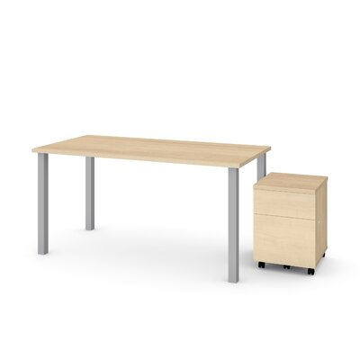 Ally 2 Piece Desk Office Suite Color: Maple