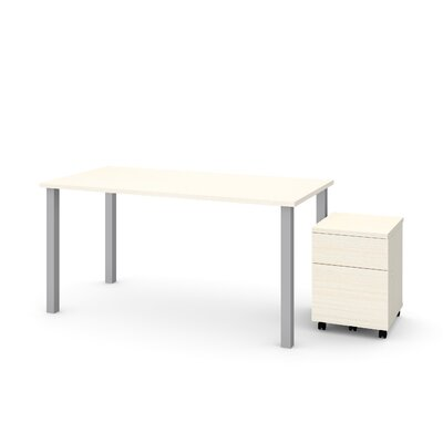 Ally 2 Piece Desk Office Suite Color: White Chocolate